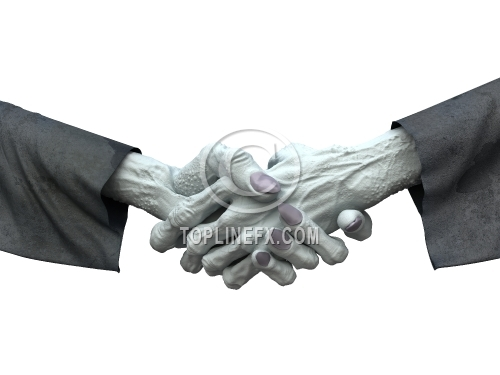 Zombie handshake on white background